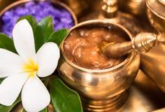 Curcuma and tamarine paste in golden container Stock Image