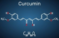 Curcumin molekuła Formalnie chemiczna formuła na zmroku - błękit ilustracja wektor