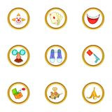 Curcus icons set, cartoon style Royalty Free Stock Photos