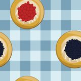 Curd and berry fruit pies. On light blue checked background - vector illustration stock illustration