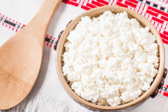 Curd in brown bowl Royalty Free Stock Photography