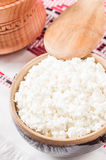 Curd in brown bowl Royalty Free Stock Images