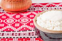 Curd in brown bowl  Stock Photography