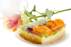 Curd cake with fruits and rose Stock Images