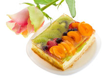 Curd cake with fruits and rose Stock Photo