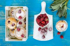 Curd cakes muffins with raspberries, decorated with powdered sugar Stock Photo