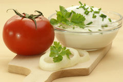 curd cheese in a bowl Stock Image