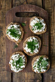 Curd cheese on bread, top view Royalty Free Stock Photo