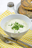 Curd Cheese with Chive and Poppy Seed Rolls Stock Photo
