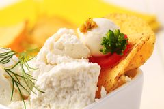 Curd cheese with corn chips Stock Photo