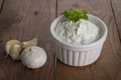 Curd cheese with herbs and garlic Royalty Free Stock Image