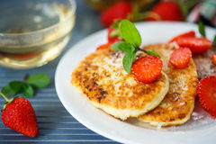 Curd cheese pancakes fried Royalty Free Stock Images