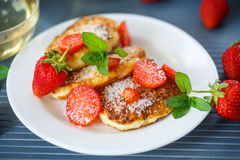 Curd cheese pancakes fried Royalty Free Stock Photo