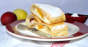 Curd cheese strudel. With fruits Royalty Free Stock Photography