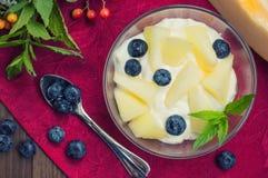 Curd con il melone, i mirtilli e un ramoscello della menta Priorità bassa di legno Vista superiore Primo piano Immagini Stock Libere da Diritti