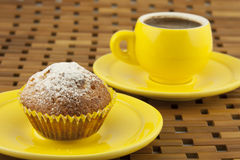 Curd cupcake and coffee cup Stock Images
