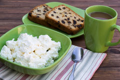 Curd, cupcake and white coffee Stock Photo