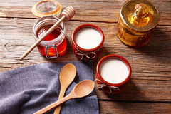 Curd dairy dessert with honey Stock Photography