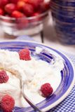 Curd dessert with fresh raspberries Royalty Free Stock Images