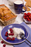 Curd dessert with fresh raspberries Stock Photos