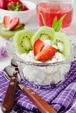 Curd dessert with fruit Stock Photography