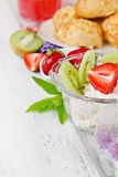 Curd dessert with fruit Royalty Free Stock Photo