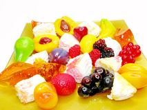 Curd dessert with pudding and jelly fruits Stock Photography