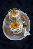Curd dessert with tangerines Stock Photo