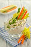 Curd dip with greens royalty free stock image