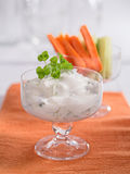 Curd for dipping with vegetables Royalty Free Stock Images