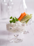 Curd for dipping with vegetables Stock Images