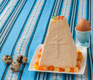 Curd Easter cake on embroidered tablecloth Stock Images