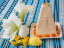 Curd Easter cake on embroidered tablecloth Royalty Free Stock Photography