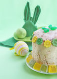 Curd easter pie. Festive serving of easter table with serviettes and easter curd pie Stock Photos