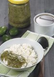Curd with feijoa jam for breakfast Royalty Free Stock Photography