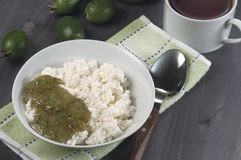 Curd with feijoa jam for breakfast Stock Photography
