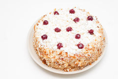 Curd handmade cake with fresh cherries Royalty Free Stock Photo