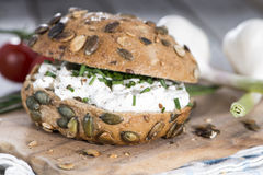 Curd and Herbs on a roll Royalty Free Stock Photo