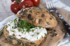 Curd and Herbs on a roll Royalty Free Stock Photos