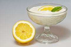 Curd with lemon Stock Photo