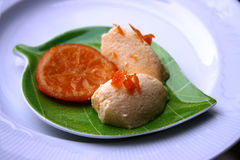Curd mousse with mandarin jam Royalty Free Stock Image