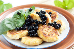 Curd pancake with black currant Stock Image