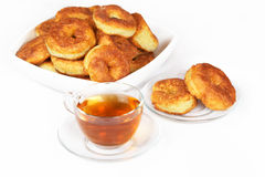 Curd pancake and tea Royalty Free Stock Photos