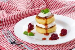 Curd pancake. On the white plate Royalty Free Stock Images