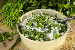 Curd, parsley, dill and chives Royalty Free Stock Photo