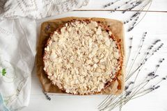 Curd pie with raspberry jam and almonds. Best dessert: Curd pie with raspberry jam and almonds Stock Photography