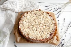 Curd pie with raspberry jam and almonds. Best dessert: Curd pie with raspberry jam and almonds Royalty Free Stock Photos