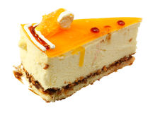 Curd Piece of cake with orange jelly Royalty Free Stock Photography