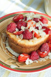 Curd pudding with berries honey and almonds. Raspberry Cheesecake with strawberry, raspberry honey and almond Royalty Free Stock Photos
