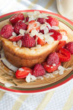Curd pudding with berries honey and almonds. Raspberry Cheesecake with strawberry, raspberry honey and almond Royalty Free Stock Image